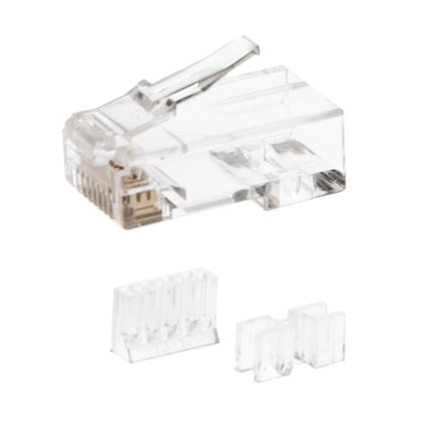 Cat6a RJ45 Crimp Connectors for Stranded Cable with wire insert guide and spacer bar ( 50 Connectors / Bag ) - Part Number: 31D0-62050