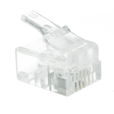 Phone / Data RJ11 Crimp Connectors for Stranded Wire, 6P4C, 50 Pieces - Part Number: 31D0-6P4CS