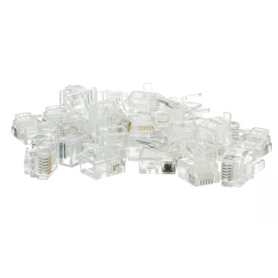 Phone / Data RJ12 Crimp Connectors for Flat Cable, 6P6C, 50 Pieces - Part Number: 31D0-6P6CF