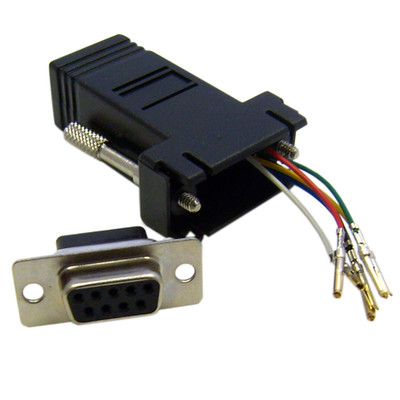 Modular Adapter, Black, DB9 Female to RJ12 Jack - Part Number: 31D1-1640BK