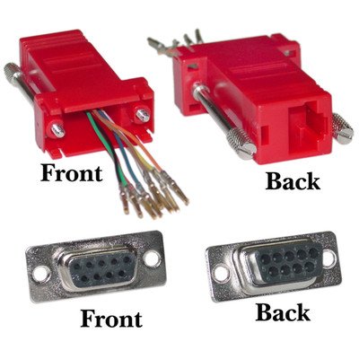 Modular Adapter, Red, DB9 Female to RJ45 Jack - Part Number: 31D1-1740RD