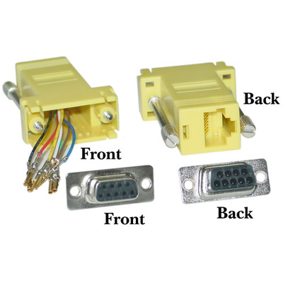 Modular Adapter, Yellow, DB9 Female to RJ45 Jack - Part Number: 31D1-1740YL