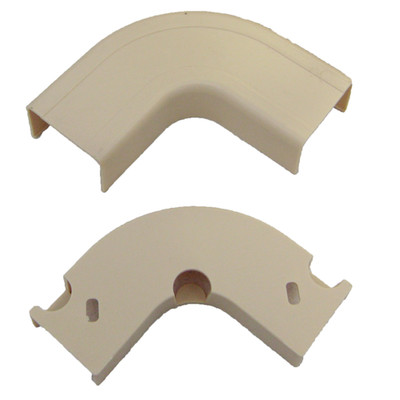 1.25 inch Surface Mount Cable Raceway, Ivory, Flat 90 Degree Elbow - Part Number: 31R2-001IV
