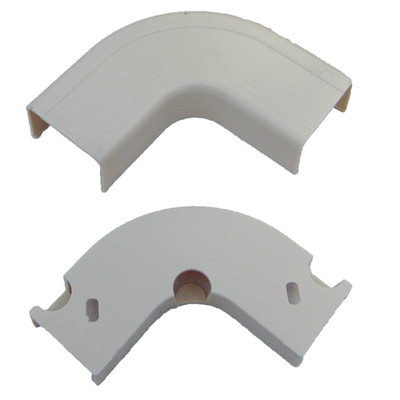 3/4 inch Surface Mount Cable Raceway, White, Flat 90 Degree Elbow - Part Number: 31R1-001WH