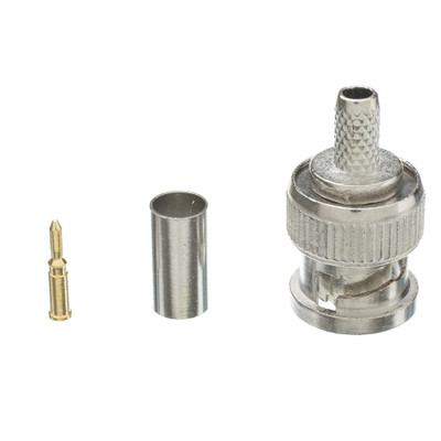 RG58 Solid Core BNC Male Crimp Connector, 3 Piece Set - Part Number: 31X1-05500