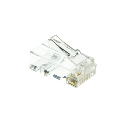 CAT6 Crimp Connectors for Solid and Stranded Cable w/ staggered guides (100 Pcs Per Bag) - Part Number: 31X8-080HD