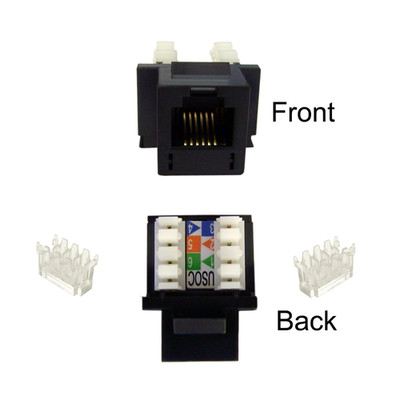 Keystone Insert, Black, Phone/Data Jack, RJ11 / RJ12 Female to 110 Type Punch Down - Part Number: 320-120BK