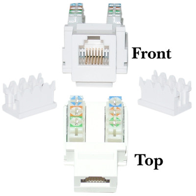 Keystone Insert, White, Phone/Data Jack, RJ11 / RJ12 Female to 110 Type Punch Down - Part Number: 320-120WH