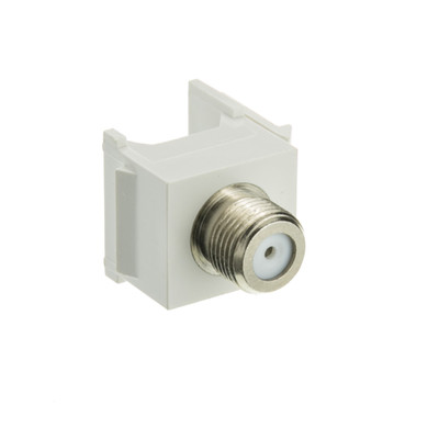 Keystone Insert, White, F-pin Coaxial Connector, F-pin Female Coupler - Part Number: 322-120WH