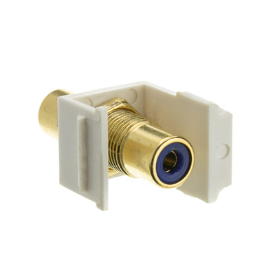 Keystone Insert, White, RCA Female Coupler (Blue RCA) - Part Number: 324-120WB