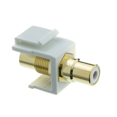 Keystone Insert, White, RCA Female Coupler (White RCA) - Part Number: 324-120WW