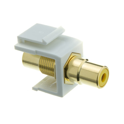 Keystone Insert, White, RCA Female Coupler (Yellow RCA) - Part Number: 324-120WY