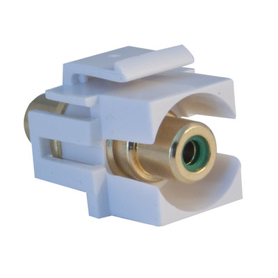 Keystone Insert, White, Recessed RCA Female Coupler (Green RCA) - Part Number: 324-220WG