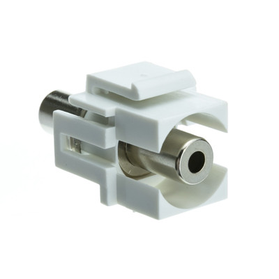 Keystone Insert, White, Recessed 3.5mm Stereo Female Coupler - Part Number: 324-350WH