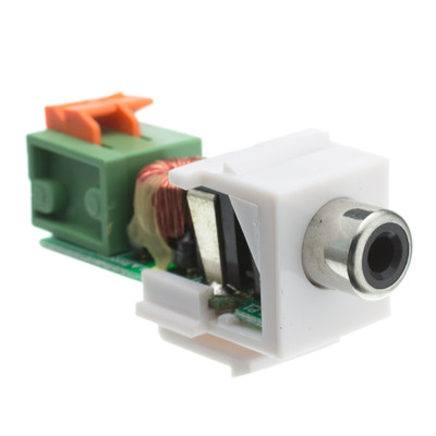 Keystone Insert, White, RCA Female to Balun over twister pair (Black RCA), Working Distance 350 foot - Part Number: 324-410BK
