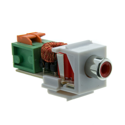 Keystone Insert, White, RCA Female to Balun over twister pair (Red RCA), Working Distance 350 foot - Part Number: 324-410RD