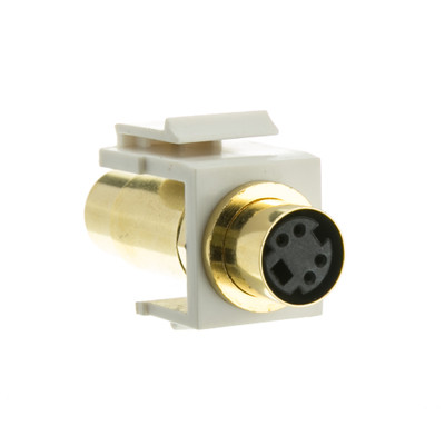 Keystone Insert, White, S-Video Female Coupler Module - Part Number: 325-120WH