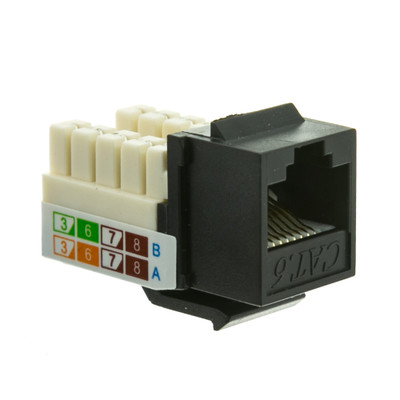 Slimline Cat6 Keystone Jack, Black, RJ45 Female to 110 Punch Down - Part Number: 326-120BK