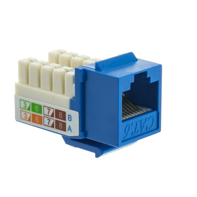 SlimlineCat6 Keystone Jack, Blue, RJ45 Female to 110 Punch Down - Part Number: 326-120BL