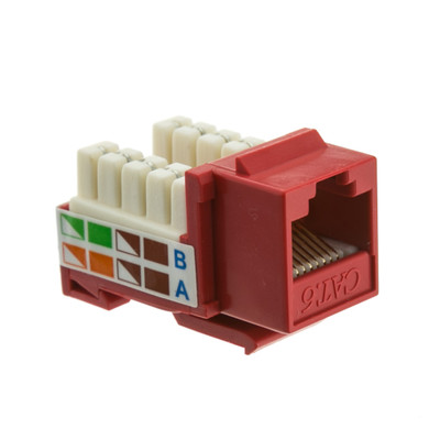 Cat6 Keystone Jack, Red, RJ45 Female to 110 Punch Down - Part Number: 326-120RD