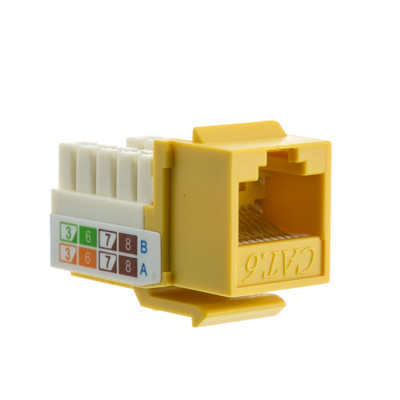 Cat6 Keystone Jack, Yellow, RJ45 Female to 110 Punch Down - Part Number: 326-120YL