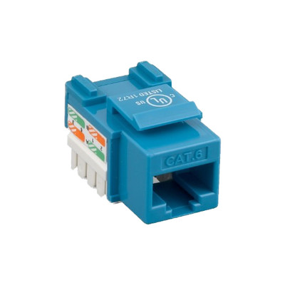 Cat6 Keystone Jack, Blue, RJ45 Female to 110 Punch Down - Part Number: 326-121BL