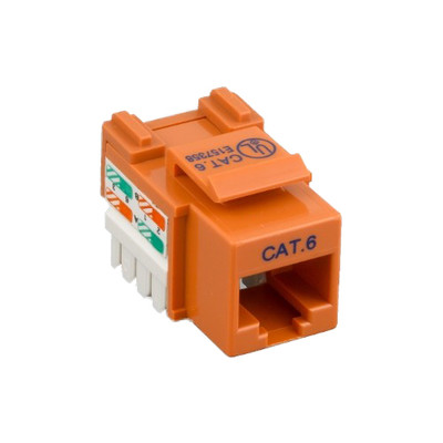 Cat6 Keystone Jack, Orange, RJ45 Female to 110 Punch Down - Part Number: 326-121OR