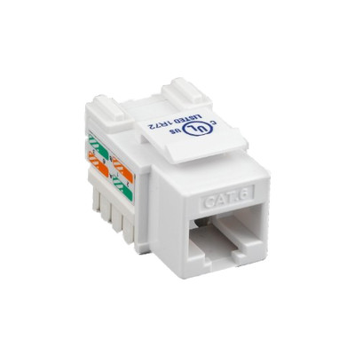 Cat6 Keystone Jack, White, RJ45 Female to 110 Punch Down - Part Number: 326-121WH