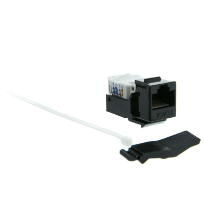 Cat6 Keystone Jack, Black, Toolless, RJ45 Female - Part Number: 327-120BK
