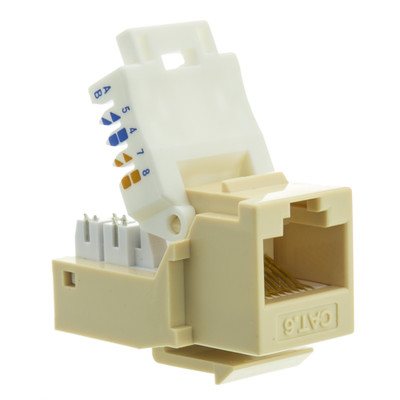 Cat6 Keystone Jack, Beige/Ivory, Toolless, RJ45 Female - Part Number: 327-120IV