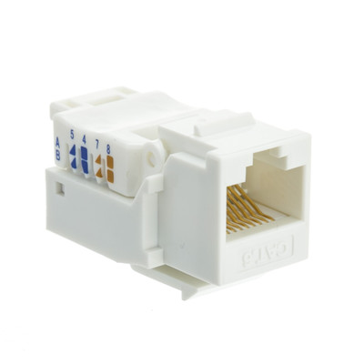 Cat6 Keystone Jack, White, Toolless, RJ45 Female - Part Number: 327-120WH
