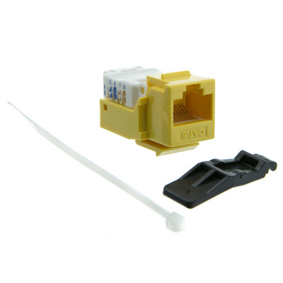 Cat6 Keystone Jack, Yellow, Toolless, RJ45 Female - Part Number: 327-120YL