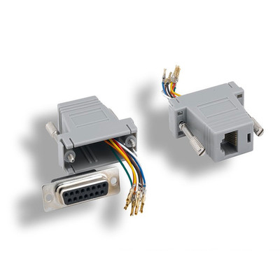 Modular Adapter, Gray, DB15 Female to RJ45 Female - Part Number: 32D1-18400