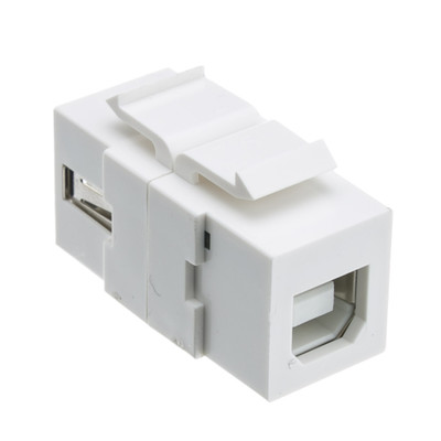Keystone Insert, White, USB 2.0 Type A Female To Type B Female Adapter (Reversible) - Part Number: 333-310