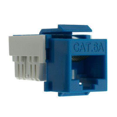 Cat6a Keystone Jack, Blue, RJ45 Female to 110 Punch Down - Part Number: 33X6-120BL