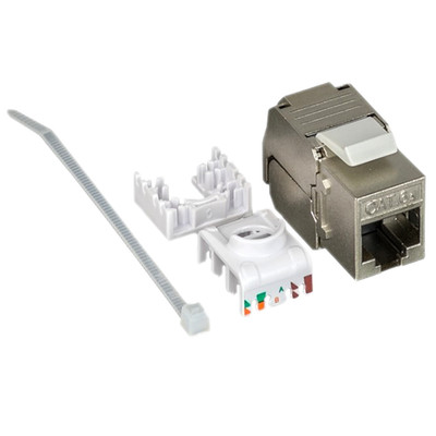 Shielded Cat6a Keystone Jack, Toolless, RJ45 Female - Part Number: 33X6-530