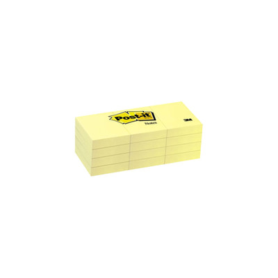 3M Post-it Notes, Canary Yellow, 1 3/8 in x 1 7/8 inch 100-sheet pads, 12 pads/pack - Part Number: 3401-00110