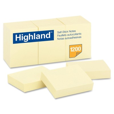 3M Post-it Notes, Highland Yellow, 1 3/8 in x 1 7/8 inch 100-sheet pads, 12 pads/pack - Part Number: 3401-00111
