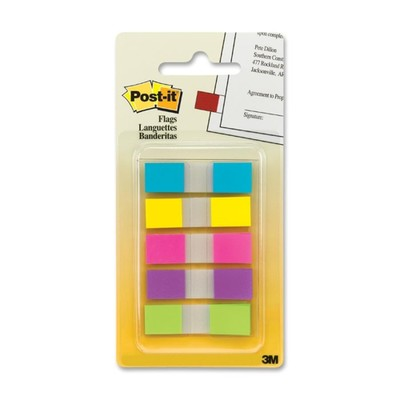 3M Post-it Flags to Go, Assorted Bright, .47 in x 1.7 in, 20 flags/color, 5 colors/pack - Part Number: 3401-00116
