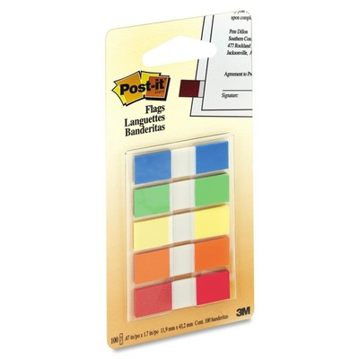 3M Post-it Flags to Go Assorted 5 Colors/pk, .47 in x 1.7 in 20 flags/color - Part Number: 3401-00117
