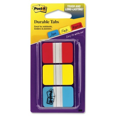 3M Post-it Durable Tabs, Red, Yellow, Blue, 1 in x 1.5 in, 22/tabs/per color, 3/colors/per/pk - Part Number: 3401-00118