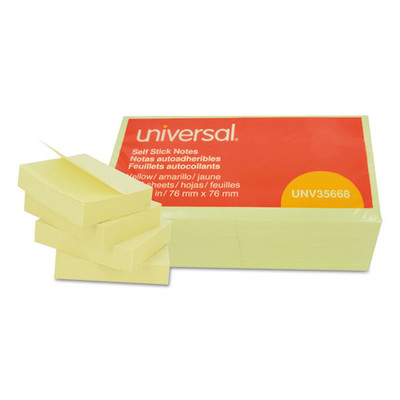 Universal Self-Stick Note Pads, 3 x 3, Yellow, 100-Sheet, 12/Pack - Part Number: 3401-00131