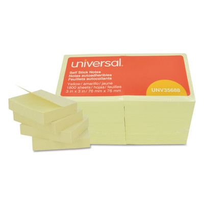 Universal Self-Stick Note Pads, 3 x 3, Yellow, 100-Sheet, 18/Pack - Part Number: 3401-00133
