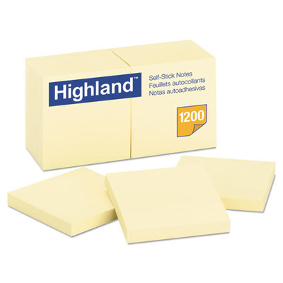 Highland Self-Stick Notes, 3 x 3, Yellow, 100-Sheet, 12/Pack - Part Number: 3401-00141