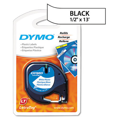 DYMO, LetraTag Plastic Label Tape Cassette, 0.5in x 13ft, White - Part Number: 3401-00207