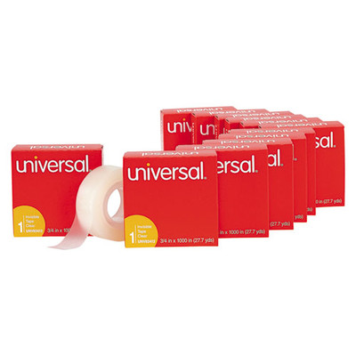 Universal Invisible Tape, 3/4 x 1000 inch, 1-inch Core, Clear, 12/Pack - Part Number: 3401-00301