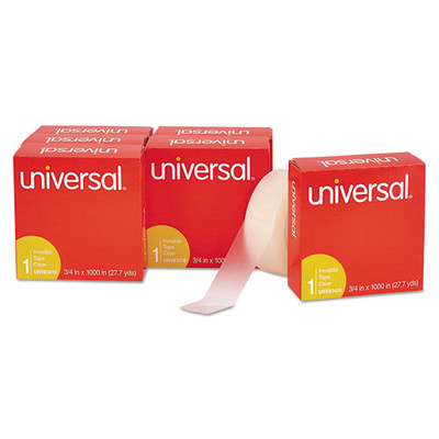 Universal Invisible Tape, 3/4 x 1000 inch, 1-inch Core, Clear, 6/Pack - UNV83410 - Part Number: 3401-00302