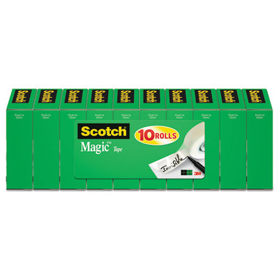Scotch Magic Tape Refill, 3/4 inch x 1296 inch, 1-inch Core, Clear, 10-pack - Part Number: 3401-01202