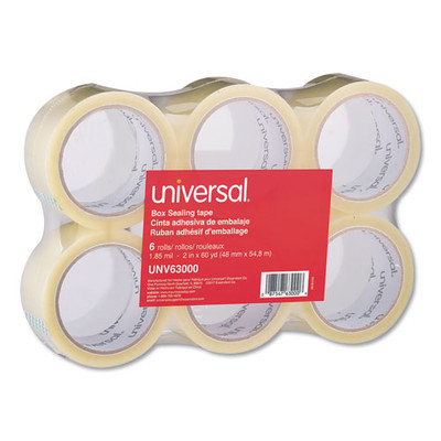 Universal General-Purpose Box Sealing Tape, 48mm x 54.8m, 3-inch Core, Clear, 6/Pack - UNV63000 - Part Number: 3401-04103