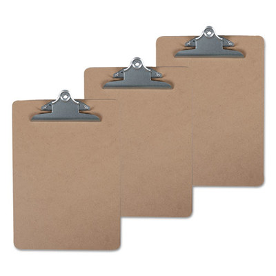 Universal Hardboard Clipboard, 1 inch Capacity, 8 1/2 x 11, Brown, 3/Pack - UNV40304VP - Part Number: 3401-06102